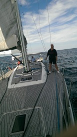Jacques checking the rigging